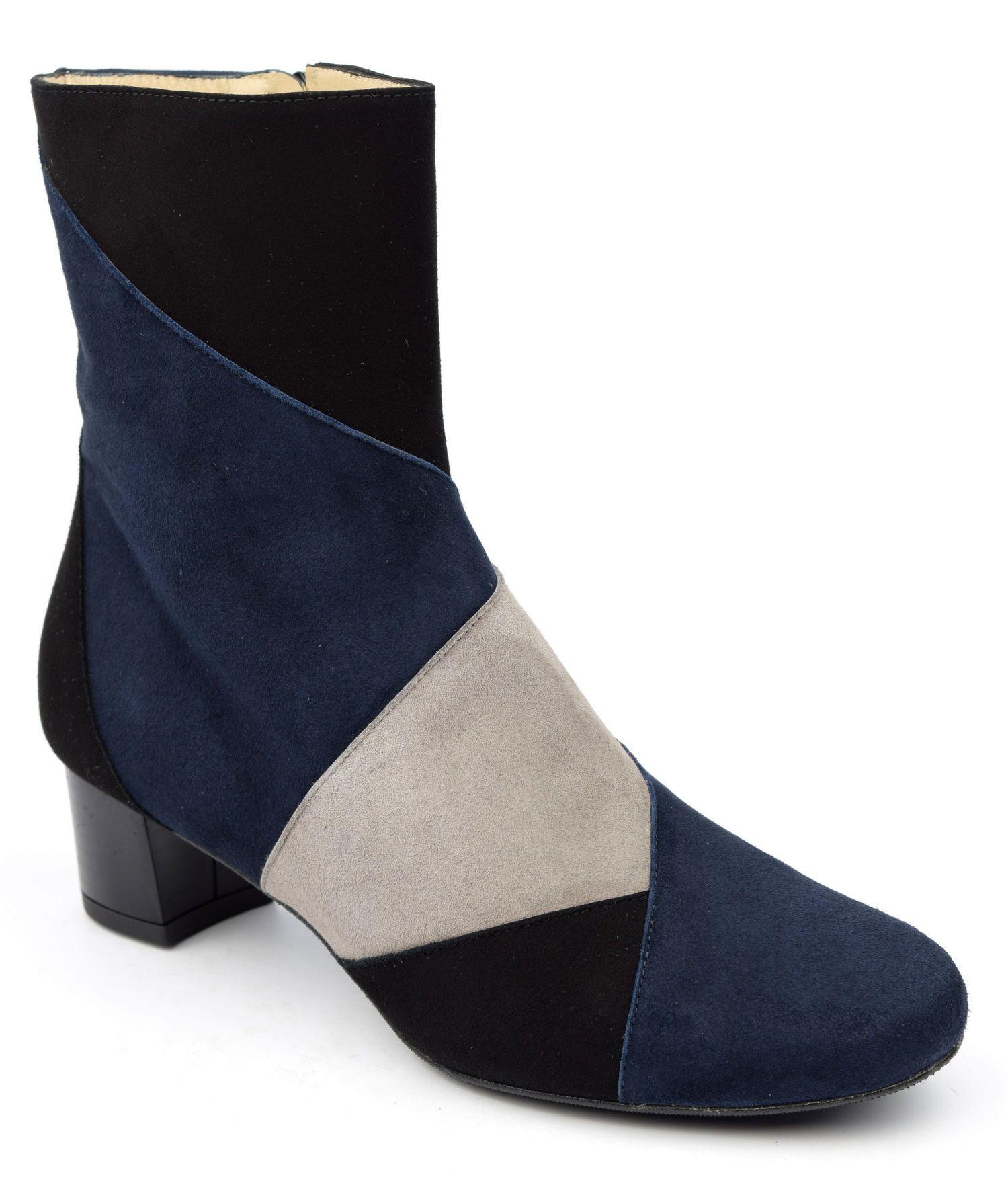 Connu Bottines tricolore, daim noir bleu et gris, Boogie-Woogie - ULTIM8  LI61
